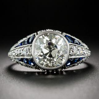 3.00 Carat Diamond and Sapphire Art Deco Ring in Platinum