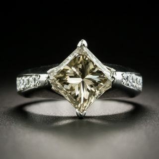 3.00 Natural Color Princess-Cut Platinum Diamond Ring - 1