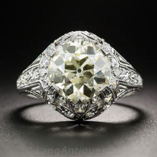 3.13 Carat European-Cut Diamond Art Deco Ring