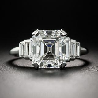 3.14 Carat Asscher-Cut Diamond Art Deco Ring - GIA H VS1