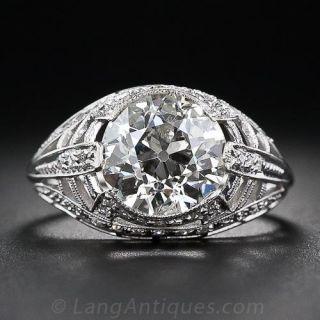 3.17 Carat Art Deco Diamond Ring - 1