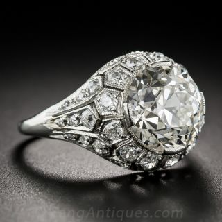 Art Deco 3.22 Carat European-Cut Diamond Ring - GIA J SI1