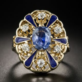 3.25 Carat No-Heat Ceylon Sapphire, Diamond and Enamel Victorian Style Ring - 1