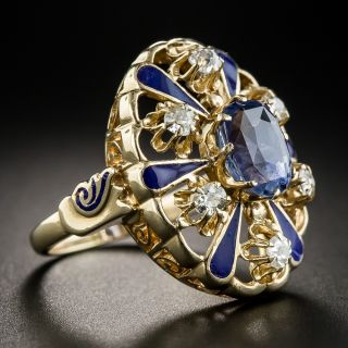 3.25 Carat No-Heat Ceylon Sapphire, Diamond and Enamel Victorian Style Ring