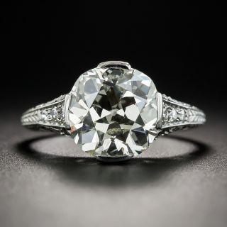 3.30 Carat Art Deco Platinum and Diamond Engagement Ring - GIA N SI2 - 1