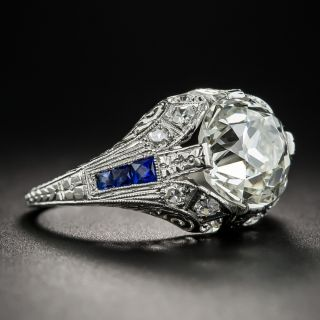 Art Deco 3.46 Carat European-Cut Diamond Ring - GIA L VS1