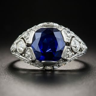 3.46 Carat Natural No-Heat Sapphire Art Deco Ring - GIA - 1
