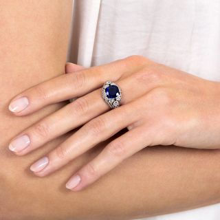 3.46 Carat Natural No-Heat Sapphire Art Deco Ring - GIA