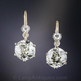 3.65 Carat Vintage Diamond Earrings