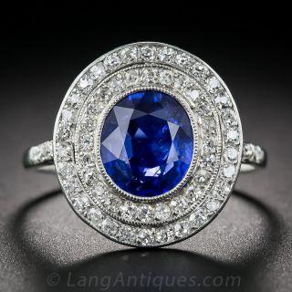 3.80 Carat No-Heat Burma Sapphire and Diamond Edwardian Ring - 1