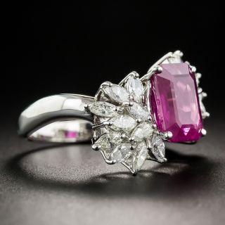 3.91 Carat Pink Burmese Sapphire Platinum and Diamond Ring
