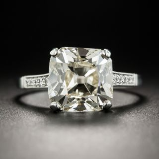3.98 Carat Antique Cushion Diamond Ring - 2