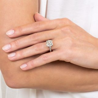 3.98 Carat Antique Cushion Diamond Ring