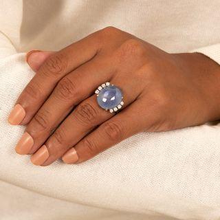 21 Carat Star Sapphire, Platinum and Diamond Vintage Cocktail Ring