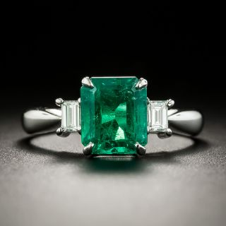 Estate 1.90 Carat Colombian Emerald and Diamond Ring  - 1
