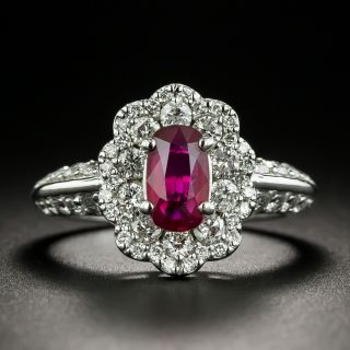 Estate 1.03 Carat No-Heat Mozambique Ruby and Diamond Ring - GIA - 0