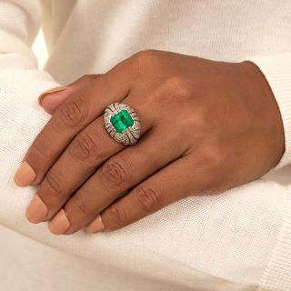 Art Deco Style 5.50 Carat Emerald and Diamond Ring