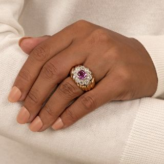 Retro No-Heat Pink Sapphire and Diamond Ring - GIA