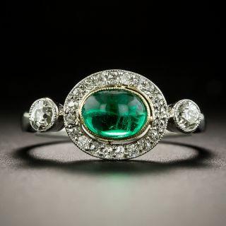 Art Deco Emerald Cabochon and Diamond Ring - 1