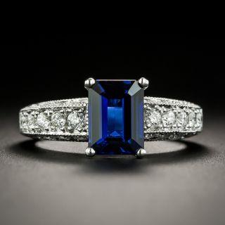 Estate No-Heat 2.00 Carat Emerald-Cut Sapphire and Diamond Ring - 1