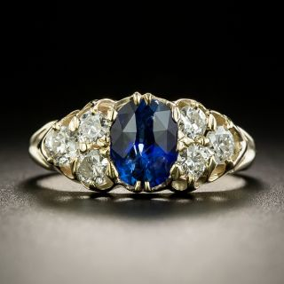 Early 1900s 1.23 Carat Ceylon Sapphire and Diamond Ring - 2