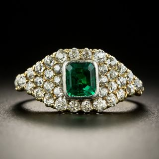 Edwardian Emerald and Diamond Ring by Baskin Brothers  - 1