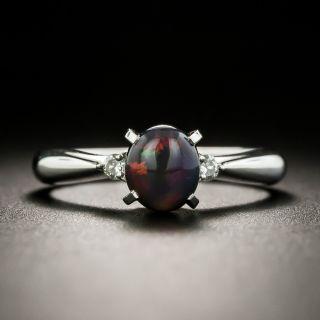Petite Black Opal and Diamond Ring - 1