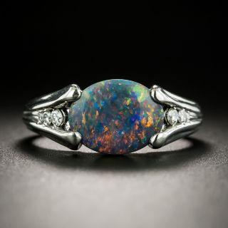 Estate 1.56 Carat Black Opal and Diamond Ring - 1