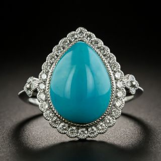 Estate Pear-Shaped Turquoise and Diamond Halo Ring - 1