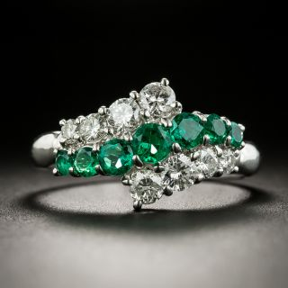 Estate Emerald and Diamond Bypass Ring - 1