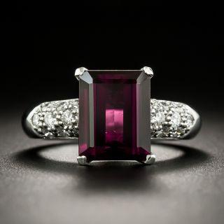 Estate Rhodolite Garnet and Diamond Ring - 1