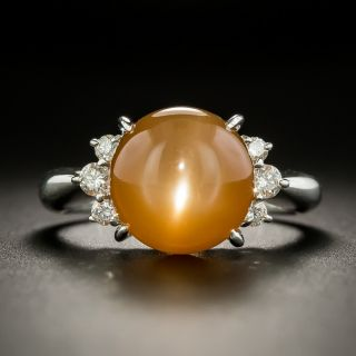 Estate Orange Cats-Eye Moonstone and Diamond Ring - 1