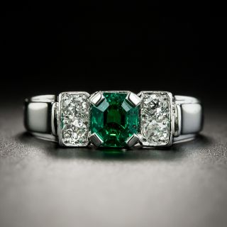 Estate .78 Carat Emerald and Diamond Ring - 1