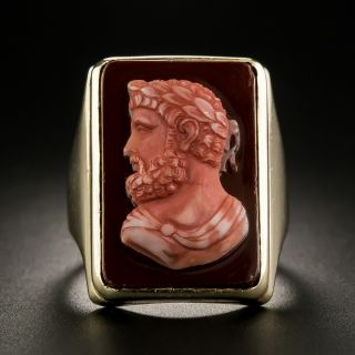 Vintage Carnelian Hardstone Cameo Ring - 1