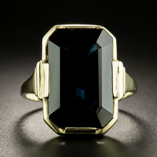 Art Deco 7.13 Carat Midnight Blue No-Heat Sapphire Ring - 1