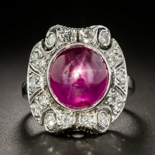 Art Deco 5.08 Carat Star Ruby Diamond Ring - 1