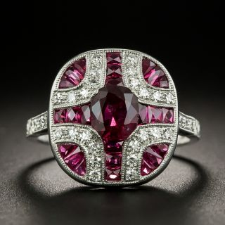 Art Deco Style No-Heat Ruby and Diamond Ring  - 1