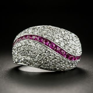 Estate Pavé Diamond and Ruby Ring - 1