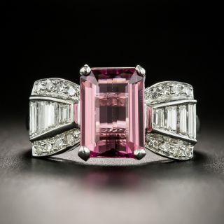 Estate 2.17 Carat Pink Tourmaline and Diamond Bow Ring  - 1
