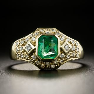 Estate .60 Carat Emerald and Diamond Ring - 1