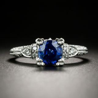 Vintage Style 1.00 Carat Sapphire Engagement Ring by Van Craeynest - 1