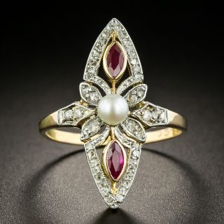 Edwardian Pearl, Diamond and Ruby Navette Ring - 1