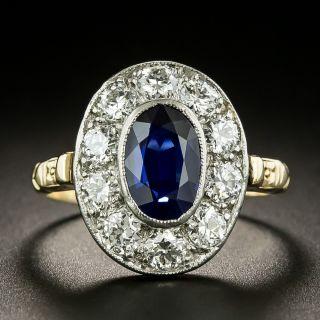 Edwardian 2.30 Carat No-Heat Sapphire and Diamond Halo Ring - 1