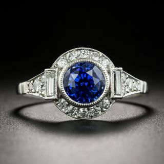 Art Deco Style 1.78 Carat Ceylon Sapphire and Diamond Ring - 1