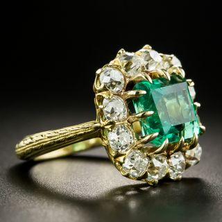 Vintage 2.75 Carat Colombian Emerald and Diamond Ring