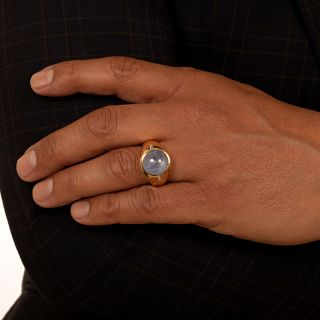 Gent's 14 Carat Star Sapphire 18k Gold and Diamond Ring