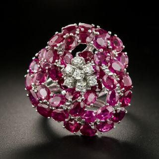 Large Ruby and Diamond Flower Ring - 0