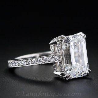 4.00 Carat Emerald-Cut Diamond Engagement Ring - GIA G SI1