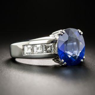 4.07 Carat Ceylon Sapphire Platinum and Diamond Ring