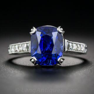 4.90 Carat No-Heat Burma Sapphire and Diamond Ring  - 1